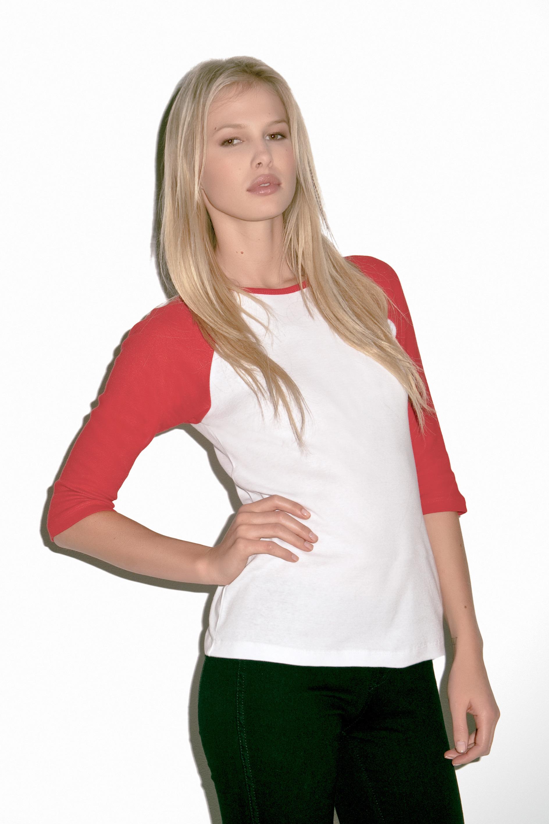 tee shirt personnalis t shirt base ball femme manches 3 4 bella bella white navy. Black Bedroom Furniture Sets. Home Design Ideas