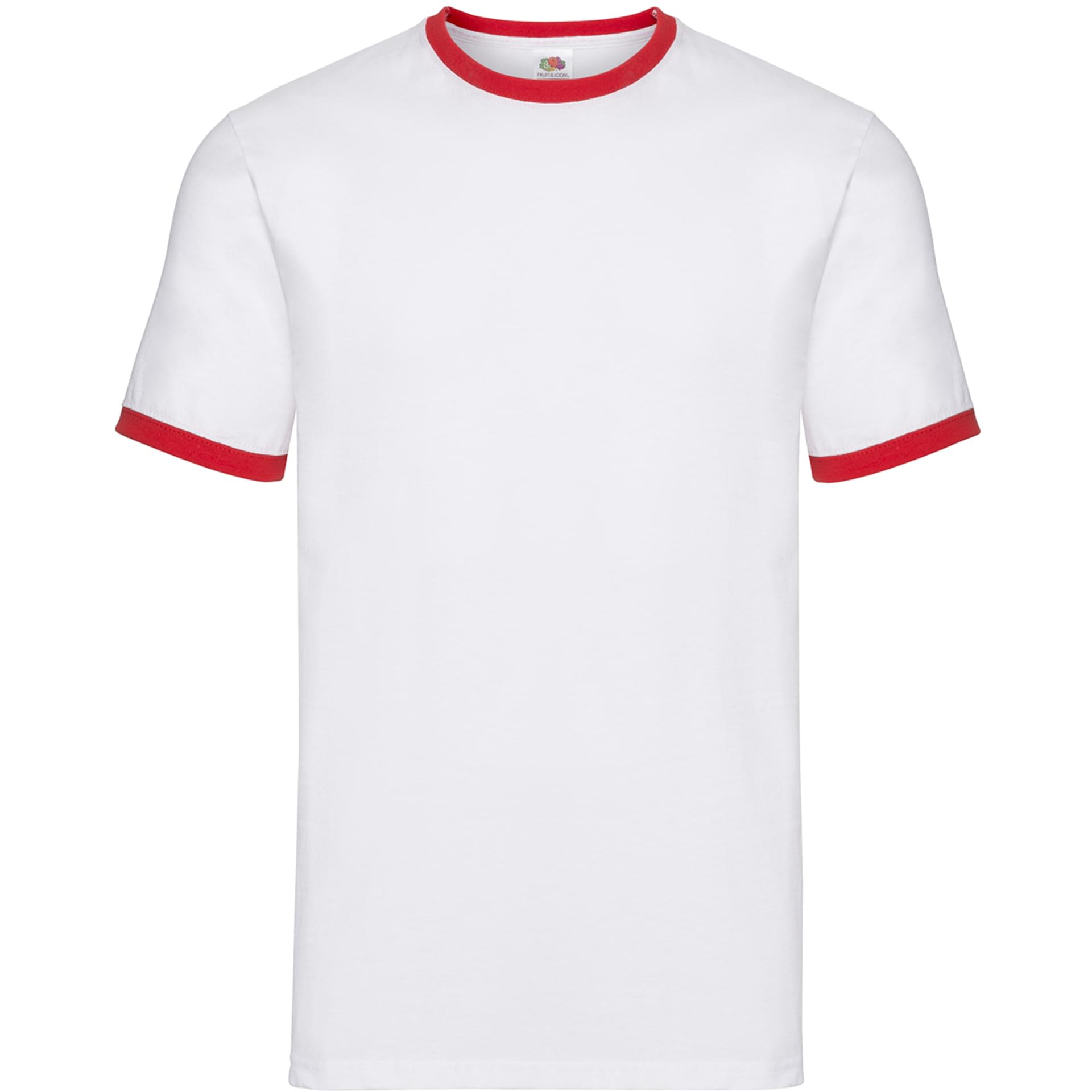 78040bef10627 ... Tee-shirt personnalisé Ringer Tee fruit of the loom blanc/rouge.  Couleur blanc/rouge