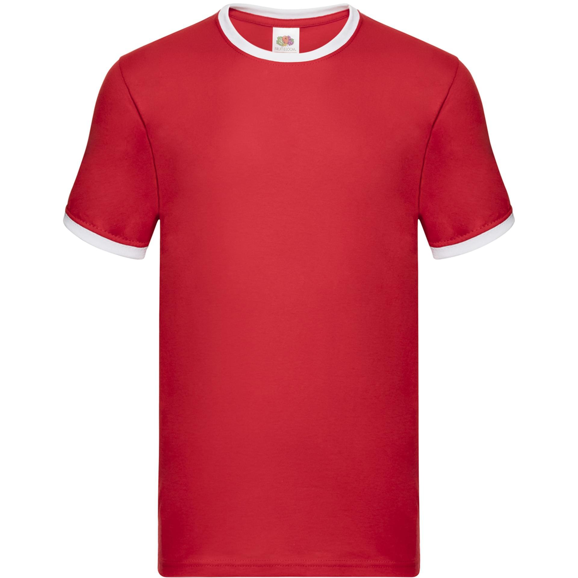 nouveau design regarder site professionnel Tee-shirt personnalisé Ringer Tee fruit of the loom rouge/blanc