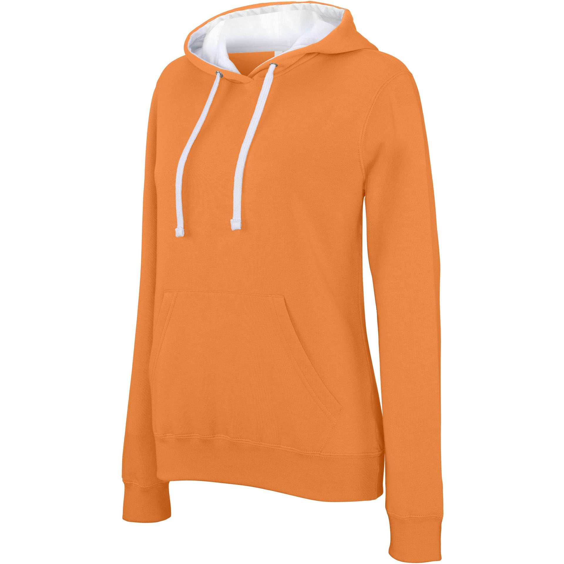 Sweat personnalisé sweat-shirt capuche contrastée femme kariban orange white 0691620fd21